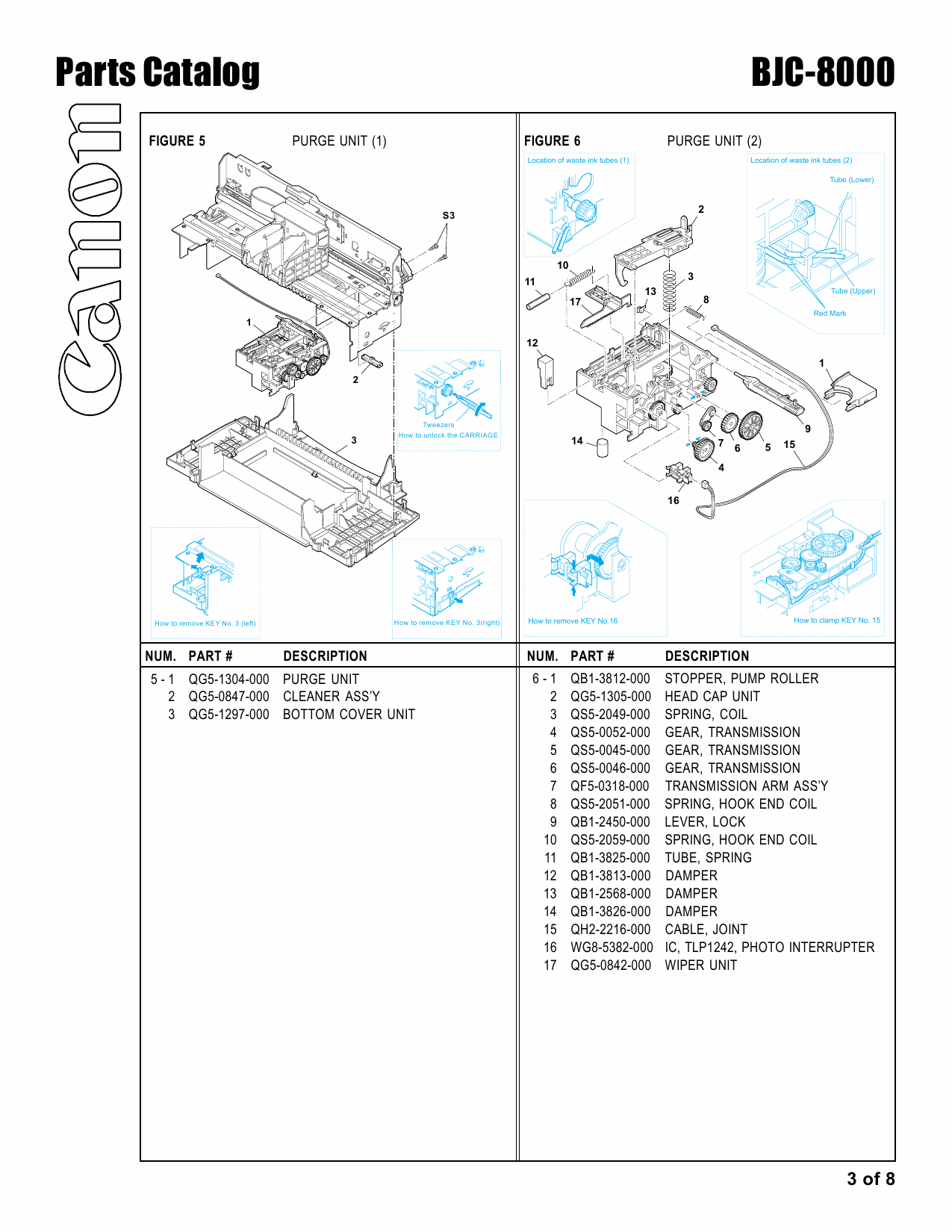 Canon BubbleJet BJC-8000 Parts Catalog Manual-4